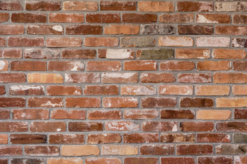 pattern of old red brick wall