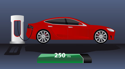 Modern electric car charging at the charger station with indicator of power reserve. Vector illustration EPS 10