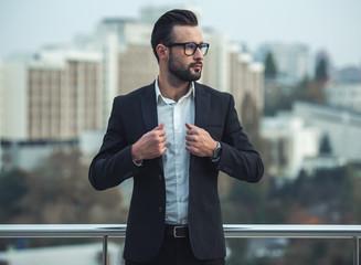 Handsome businessman outdoors