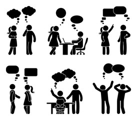 Stick figure office people speech bubble set. Vector illustration of talking coworkers on white.