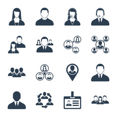 Modern vector human resource, office people and management icons set isolated on white