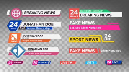 TV News Bars Set Vector. Sign Of Lower Third. Streaming Video News Sign. Isolated Illustration