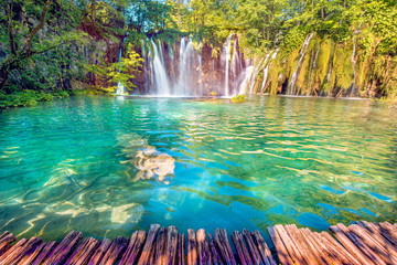 Stores photo Cascade Incredibly beautiful fabulous magical landscape with a waterfall in Plitvice, Croatia (harmony meditation, antistress - concept)