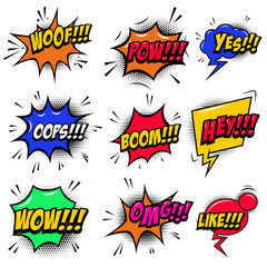 set of comic style speech bubbles with sound text effects. Design element for poster, card, banner, flyer.