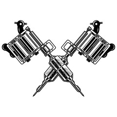 Crossed tattoo machines isolated on  white background. Design element for poster, emblem, sign, badge.