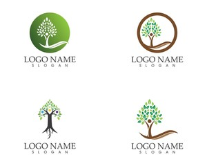 Vector - Tree green people identity card vector logo template