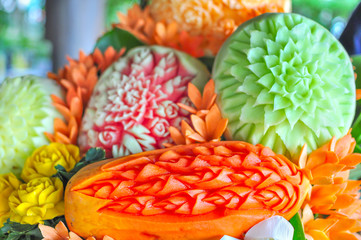 Beautiful Thai Fruit Carving for table food decoration.