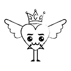 cartoon heart in love kawaii wings and crown