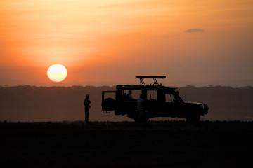 Backlight sunset African landscape while in safari