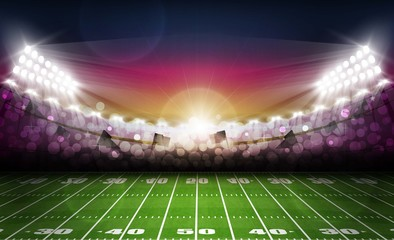 American football arena field with bright stadium lights and evening light sunset. Vector illumination