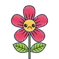 beautiful sad flower kawaii cartoon