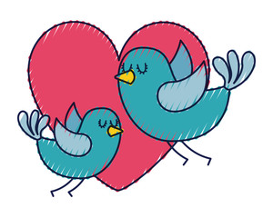 cute flying birds heart in love romance