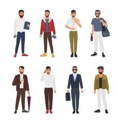 Collection of caucasian bearded men dressed in casual and formal clothes and standing in various poses. Male cartoon characters isolated on white background. Colored vector illustration in flat style.