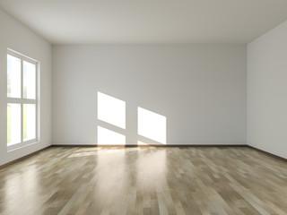 Empty room with sunlight shining through window