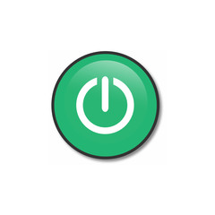 green round button with metallic border