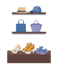 Summer Mode Shelves Poster Vector Illustration