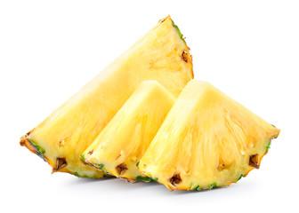 Pineapple slices isolated on white background. Fresh raw juicy fruit.