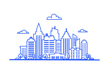 Fotomurales - Blue Thin line City landscape. Downtown landscape with high skyscrapers. Panorama architecture. Goverment buildings Isolated outline illustration. City landscape template.