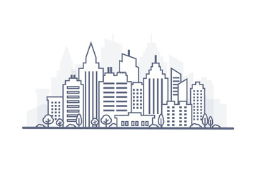 Fotomurales - Thin line City landscape. Downtown landscape with high skyscrapers. Panorama architecture City landscape template. Goverment buildings Isolated outline illustration. Urban life