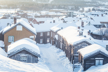 A beautiful morning landscape of Roros. World heritage place. Historic town in central Norway. Winter landscape of a small town.