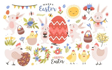 Collection of cute easter cartoon characters and spring decorative elements - bunnies, eggs, chickens, blooming flowers isolated on white background. Colorful holiday flat vector illustration.
