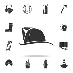 Fireman hat icon. Detailed set icons of firefighter element icons. Premium quality graphic design. One of the collection icons for websites, web design, mobile app