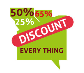 Discount everything label, flat vector illustration