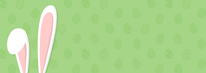 Cute Easter background with bunny and copyspace. Vector.