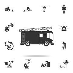 Fire engine icon. Detailed set icons of firefighter element icons. Premium quality graphic design. One of the collection icons for websites, web design, mobile app