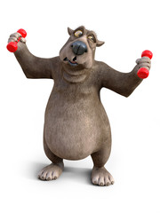 3D rendering of cartoon bear exercising with dumbbells.