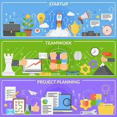 Startup Development Concept Banners