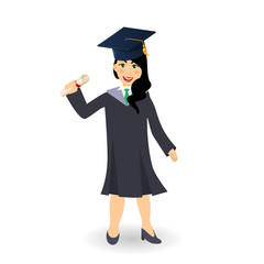 Diploma graduating happy student girl. A young graduate woman holding certificate or diploma scroll. Female cartoon character illustration