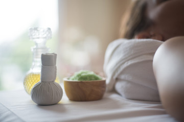 Bottle of aroma essential oil and Spa treatments Fototapete