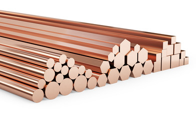 Set of copper rods of different types. Round, square, hexagonal rolled metal products. Isolated on white background, clipping path included. 3d illustration.