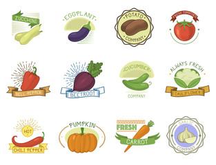 Vegetables badge vector healthy vegetably tomato, carrot, potato vegetarians pumpkin organic food modern web shop illustration vegetated badges set isolated on background