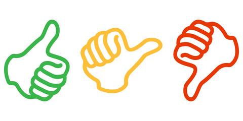 Daumen hoch, mittig und runter (in Grün, Gelb und Rot)