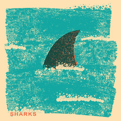 Shark fin in ocean.Vintage poster on old paper texture