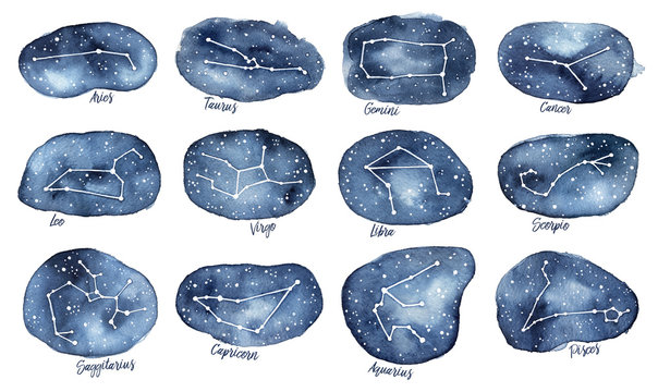 Set of all 12 Zodiac Signs as Constellations in the Dark Starry Sky. With written names. Hand drawn decorative water color gradient drawing on white background, cut out. Banners, clip art, decor.