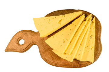 Cutting board with chopped cheese isolated on white background