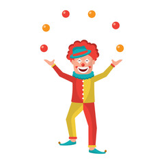 happy smiling clown juggling balls show character