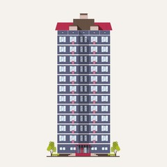 Fototapete - Tall city panel building with many floors built in modern architectural style. Multistory living house isolated on white background. Real estate architecture and construction. Vector illustration.