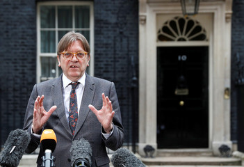 Guy Verhofstadt, the European Union's chief Brexit negotiator, speaks outside 10 Downing Street in London