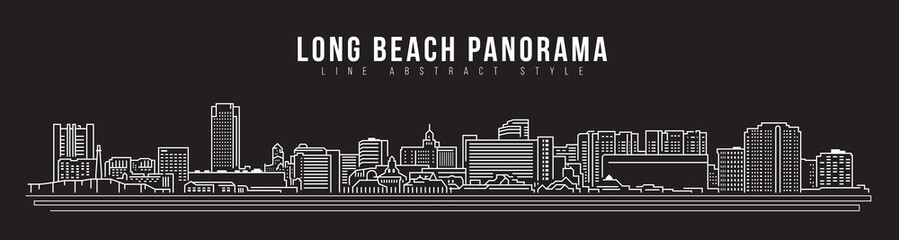Cityscape Building Line art Vector Illustration design - Long beach city panorama