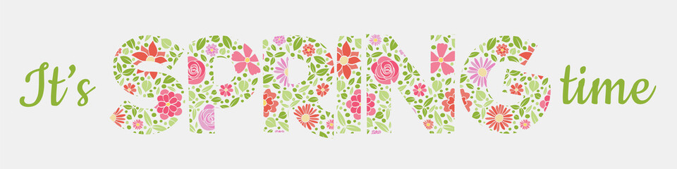 Spring is coming - vintage banner with hand drawn flowers. Vector.