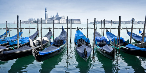Wall Mural - Panorama of gondas in Venice, Italy