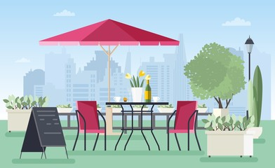 Summer outdoor cafe, coffeehouse or restaurant with table, chairs, umbrella and welcome board standing on city street against skyscrapers on background. Colorful vector illustration in flat style.