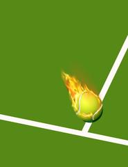 court de tennis avec balle en feu