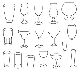 Set icons of different kinds of glasses vector illustration sketch