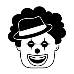 smiling clown face with hat and hair funny
