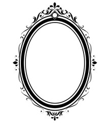 Oval frame and border black and white on white background, Thai pattern, vector illustration